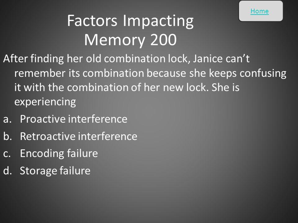 Factors Impacting Memory 200