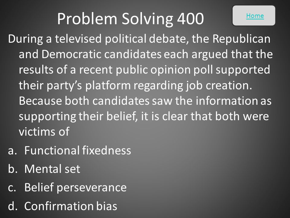 Problem Solving 400 Home.