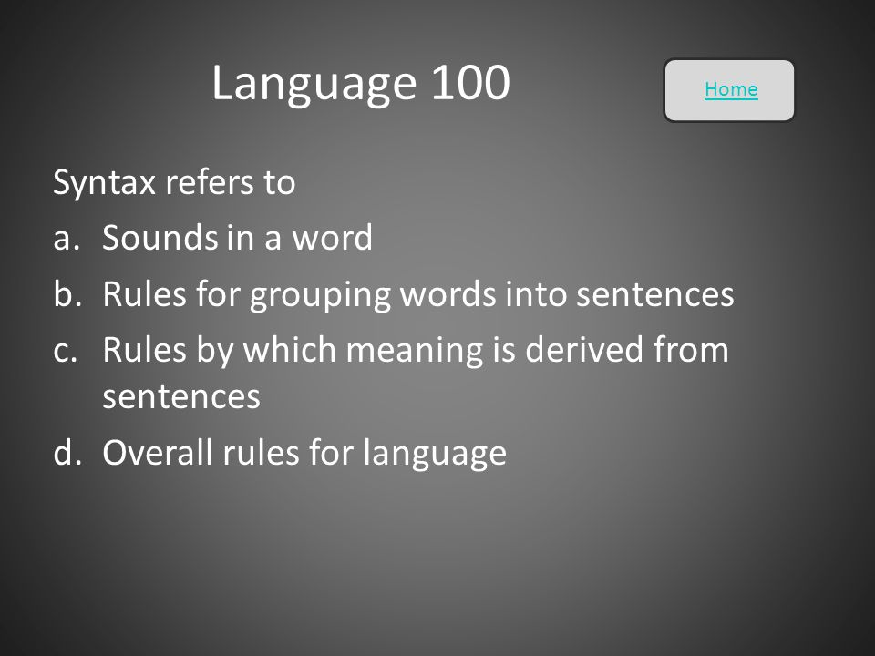Language 100 Syntax refers to Sounds in a word