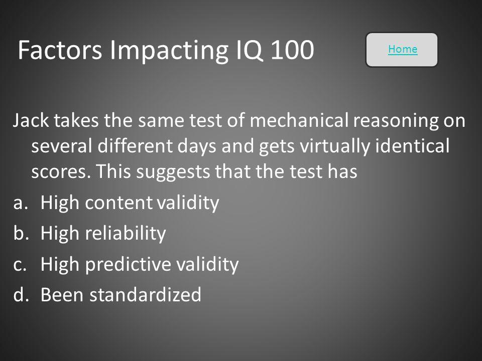 Factors Impacting IQ 100 Home.