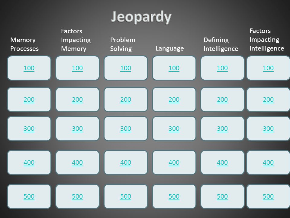 Jeopardy Factors Impacting Memory Factors Impacting Intelligence