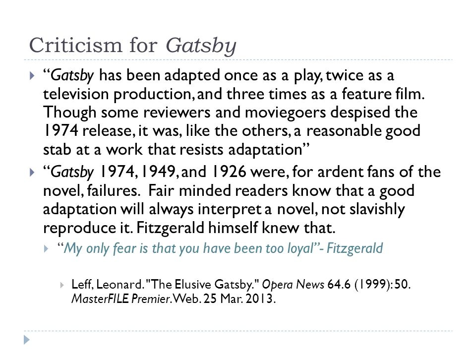 Criticism for Gatsby
