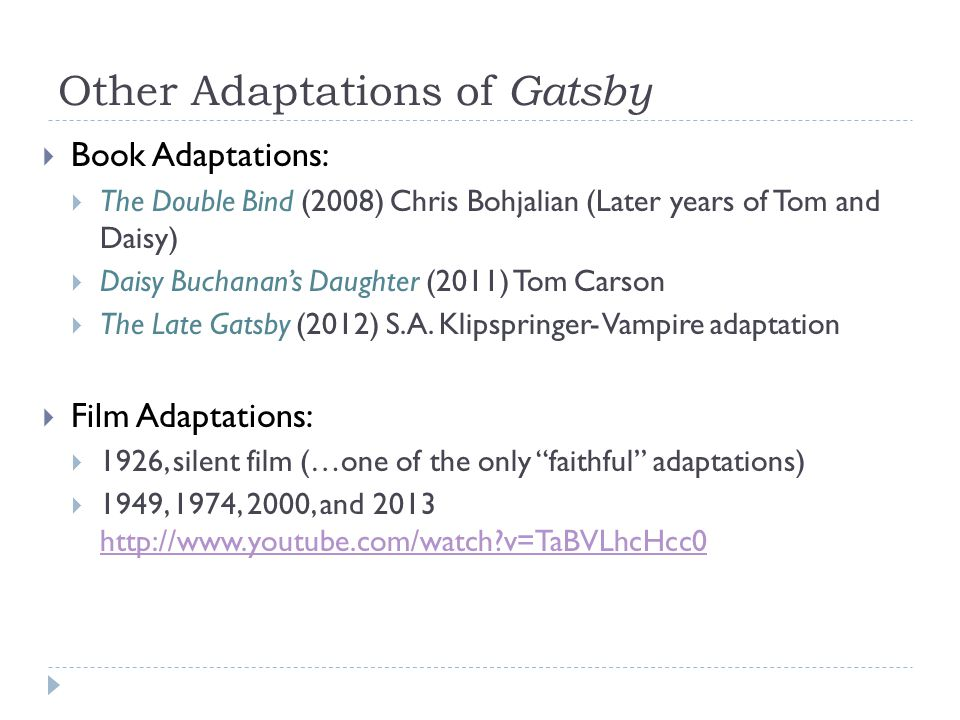 Other Adaptations of Gatsby