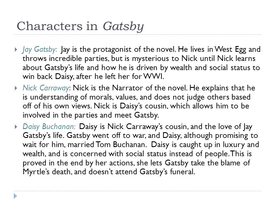 Characters in Gatsby