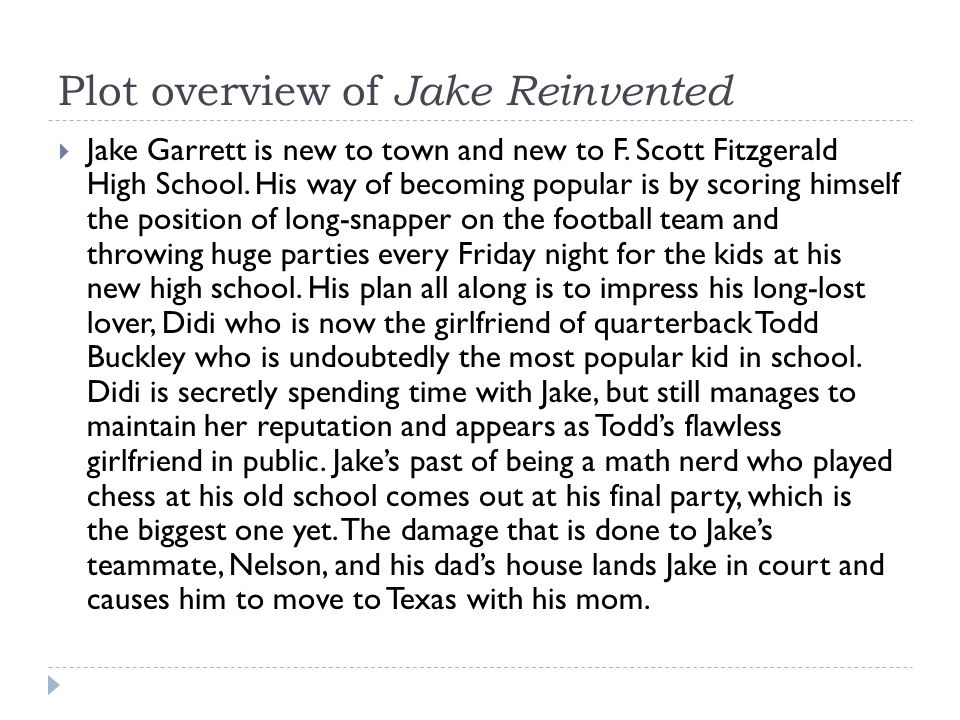 Plot overview of Jake Reinvented
