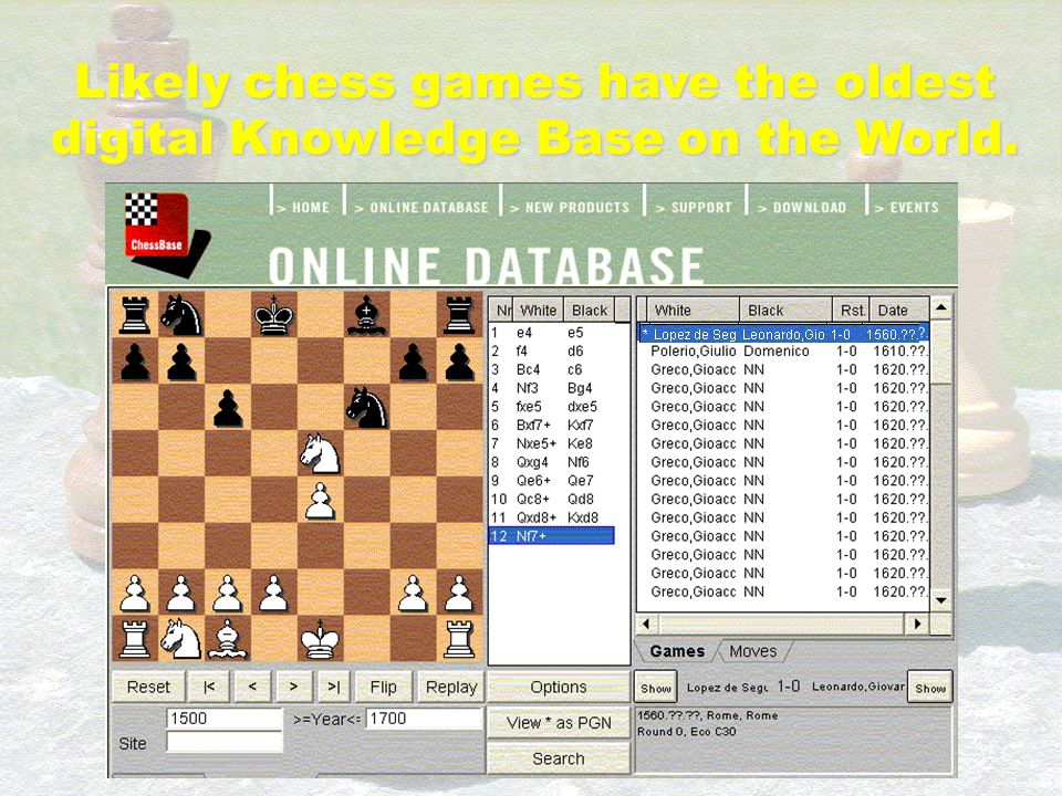 Likely chess games have the oldest digital Knowledge Base on the World.