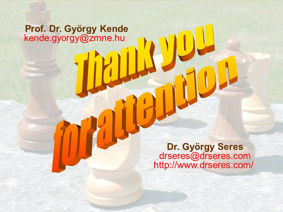Thank you for attention Prof. Dr. György Kende kende.gyorgy@zmne.hu