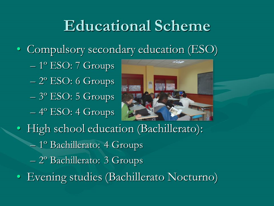 Educational Scheme Compulsory secondary education (ESO)