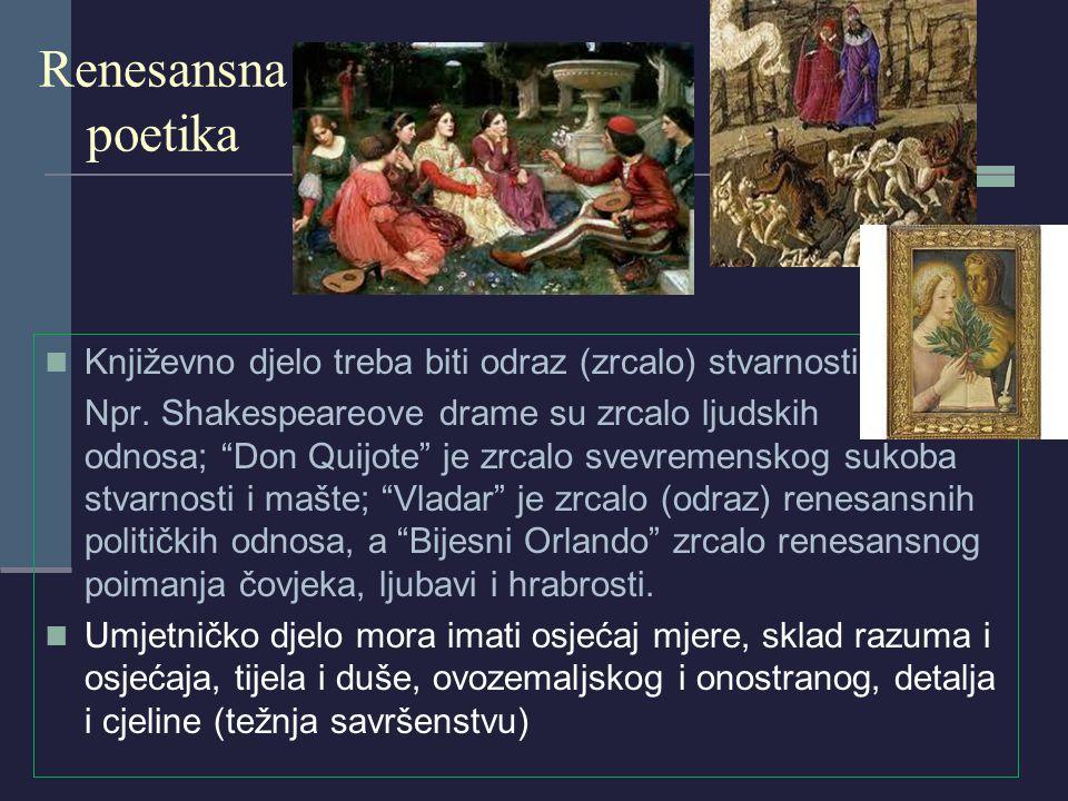 Renesansna poetika Književno djelo treba biti odraz (zrcalo) stvarnosti.
