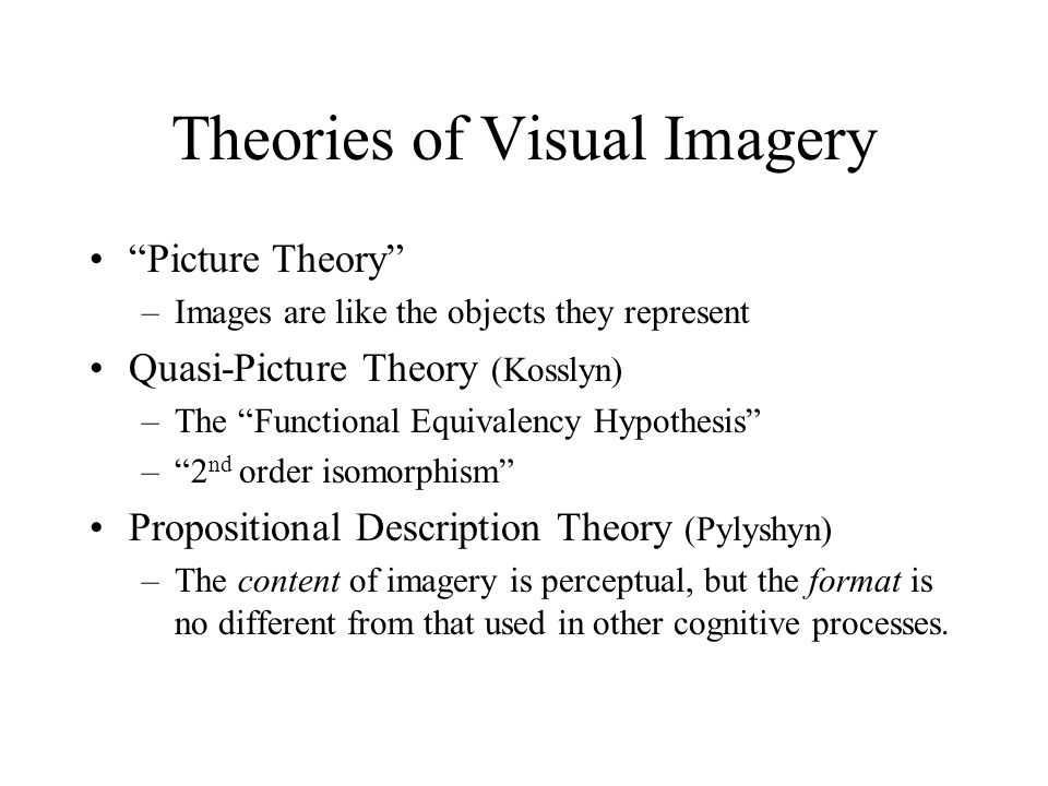 Theories of Visual Imagery