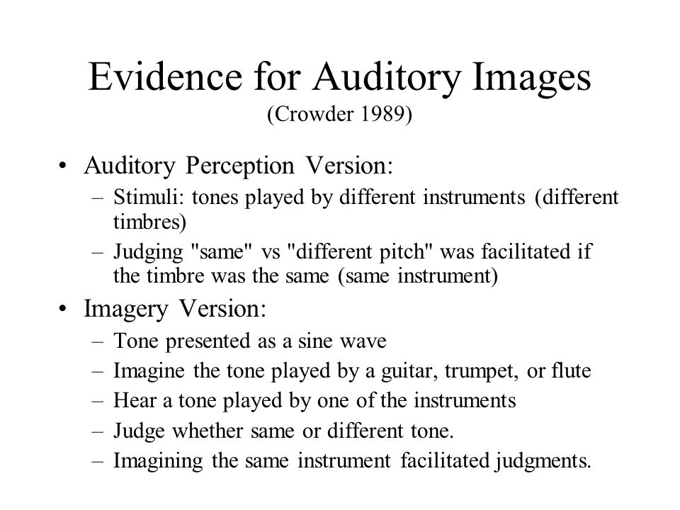 Evidence for Auditory Images (Crowder 1989)