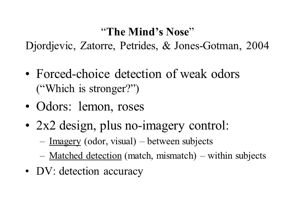 The Mind's Nose Djordjevic, Zatorre, Petrides, & Jones-Gotman, 2004