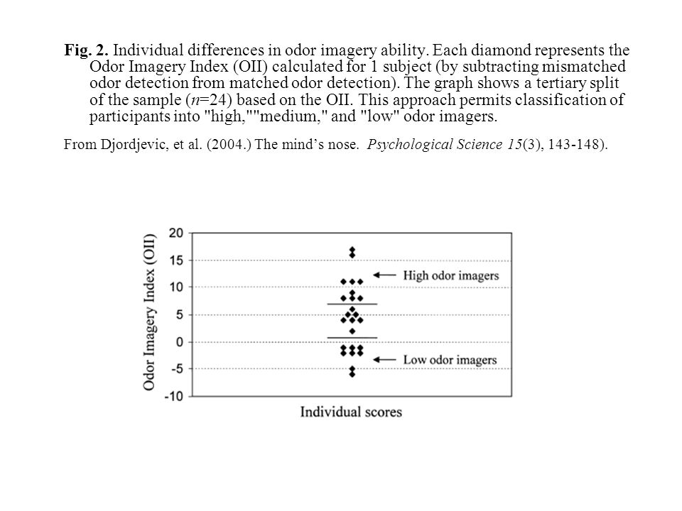 Fig. 2. Individual differences in odor imagery ability