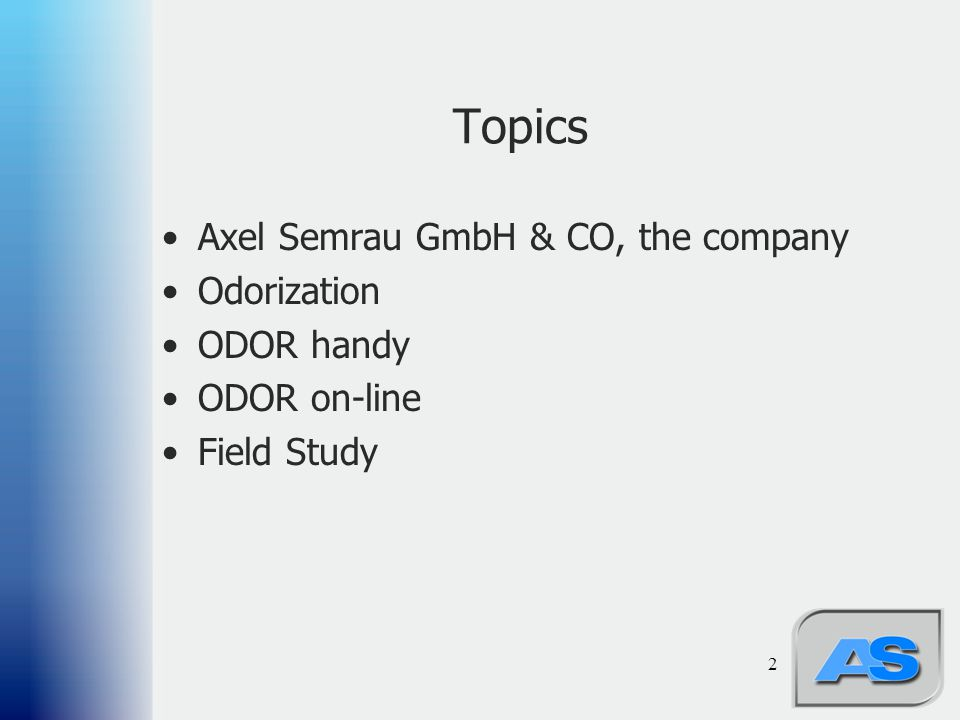 Topics Axel Semrau GmbH & CO, the company Odorization ODOR handy
