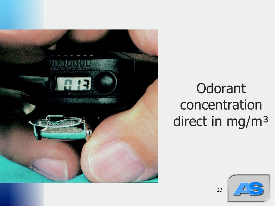 Odorant concentration direct in mg/m³