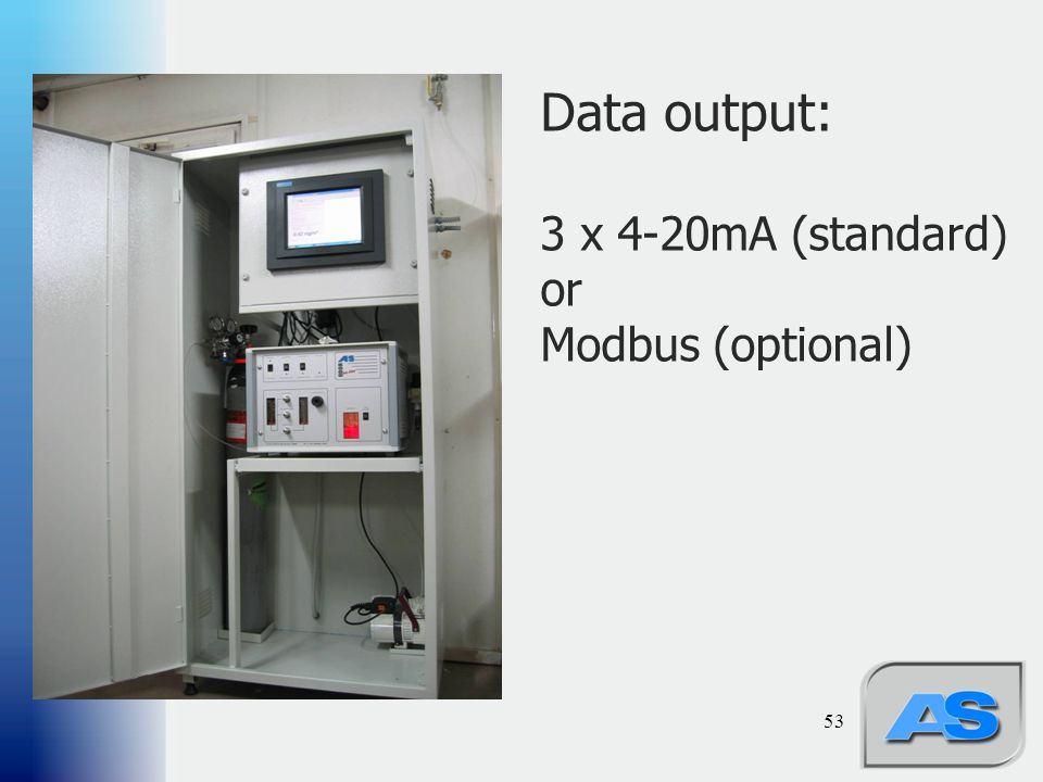 Data output: 3 x 4-20mA (standard) or Modbus (optional)