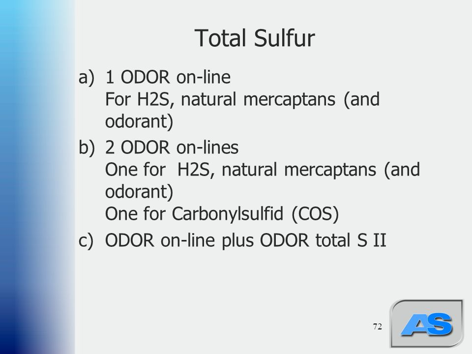 Total Sulfur 1 ODOR on-line For H2S, natural mercaptans (and odorant)