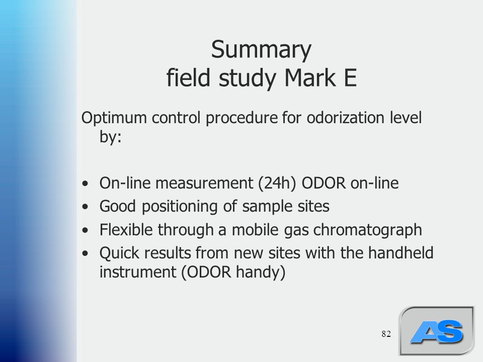 Summary field study Mark E