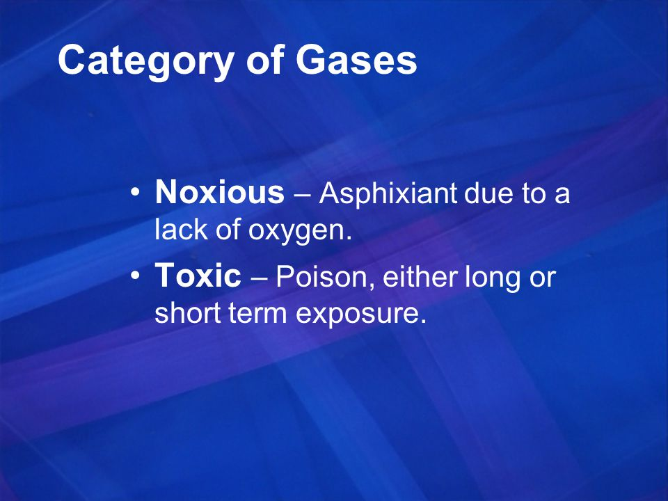Category of Gases Noxious – Asphixiant due to a lack of oxygen.