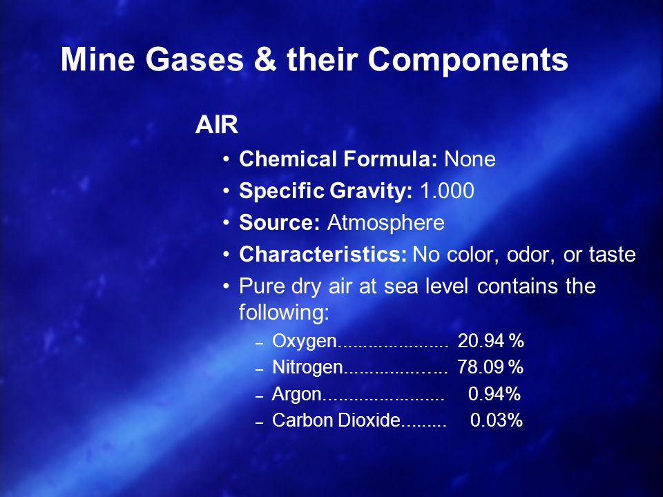 Mine Gases & their Components