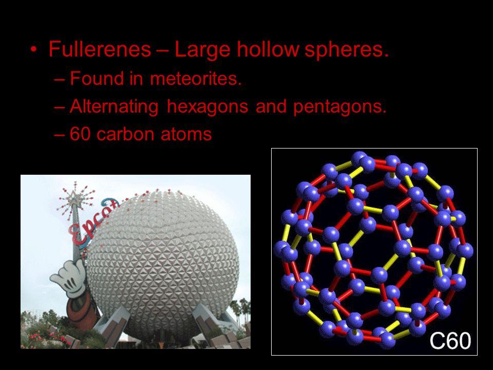 Fullerenes – Large hollow spheres.