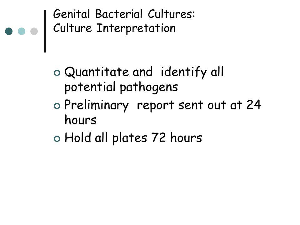 Genital Bacterial Cultures: Culture Interpretation