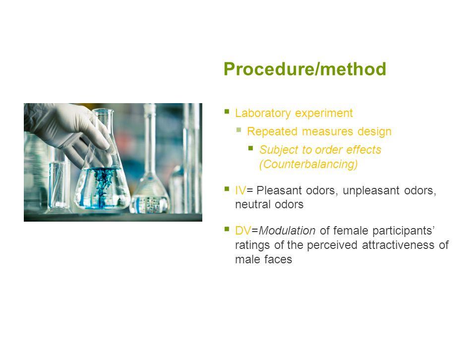 Procedure/method Laboratory experiment Repeated measures design