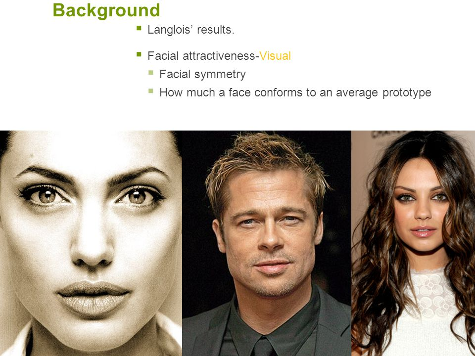 Background Langlois' results. Facial attractiveness-Visual