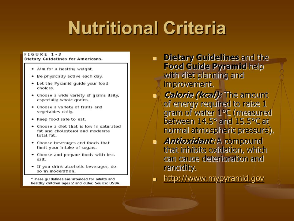Nutritional Criteria Dietary Guidelines and the Food Guide Pyramid help with diet planning and improvement.