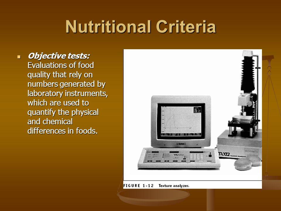 Nutritional Criteria