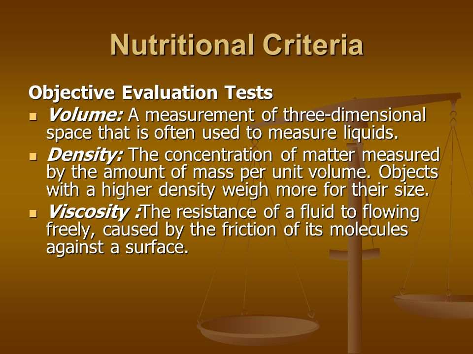Nutritional Criteria Objective Evaluation Tests