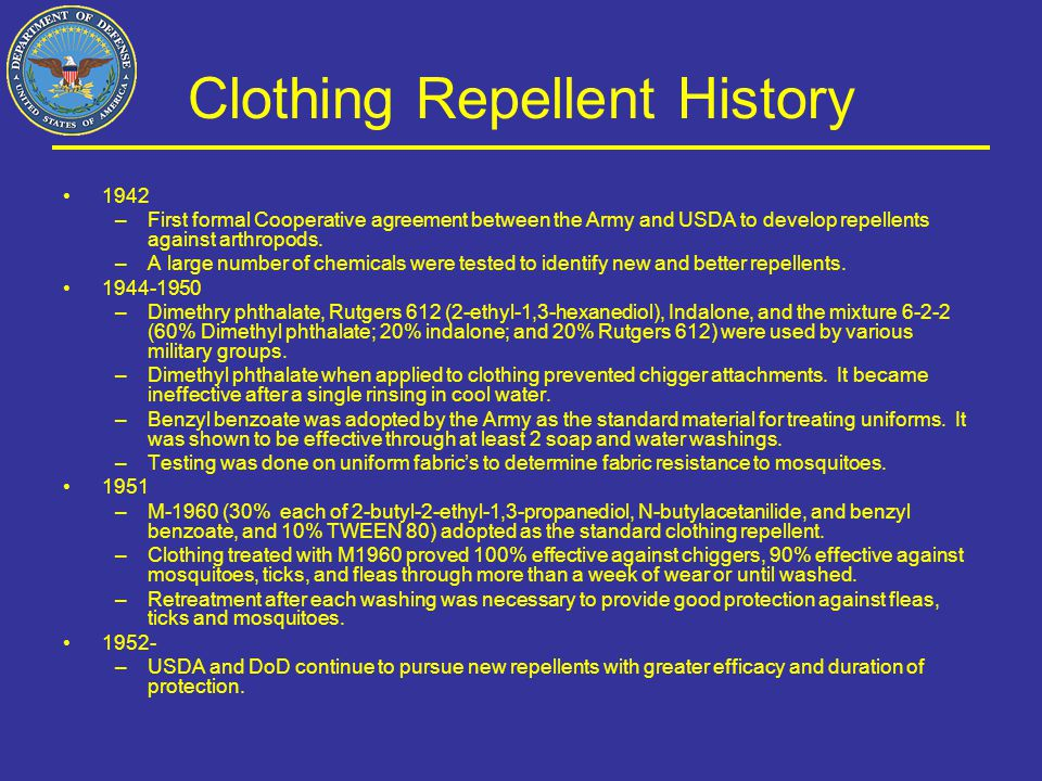 Clothing Repellent History