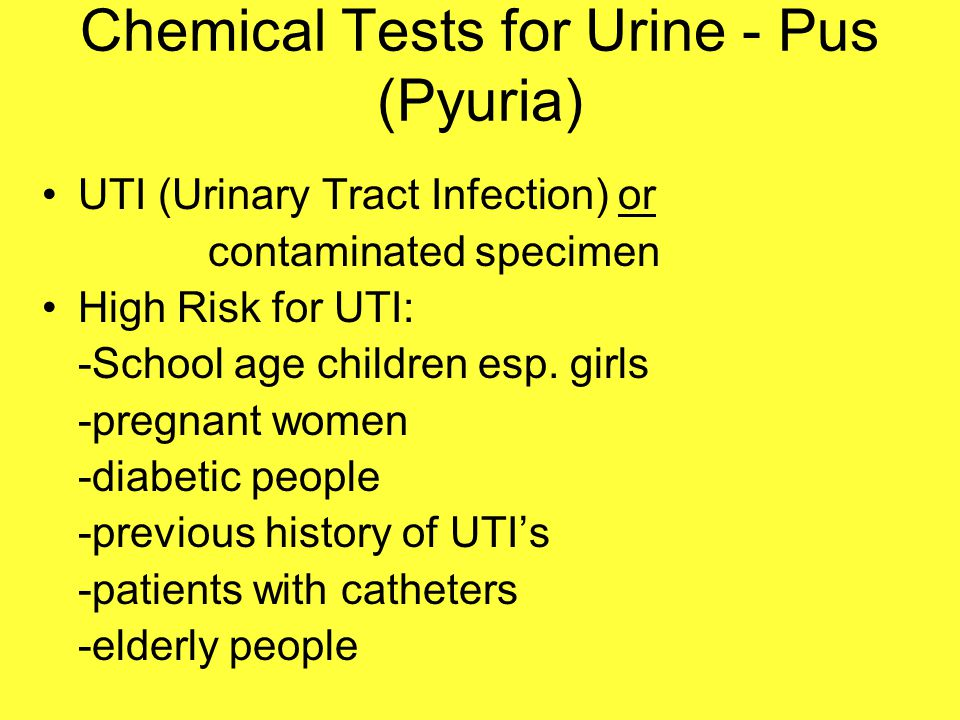 Chemical Tests for Urine - Pus (Pyuria)