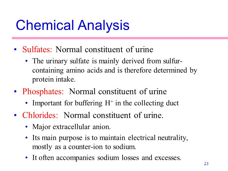 Chemical Analysis Sulfates: Normal constituent of urine