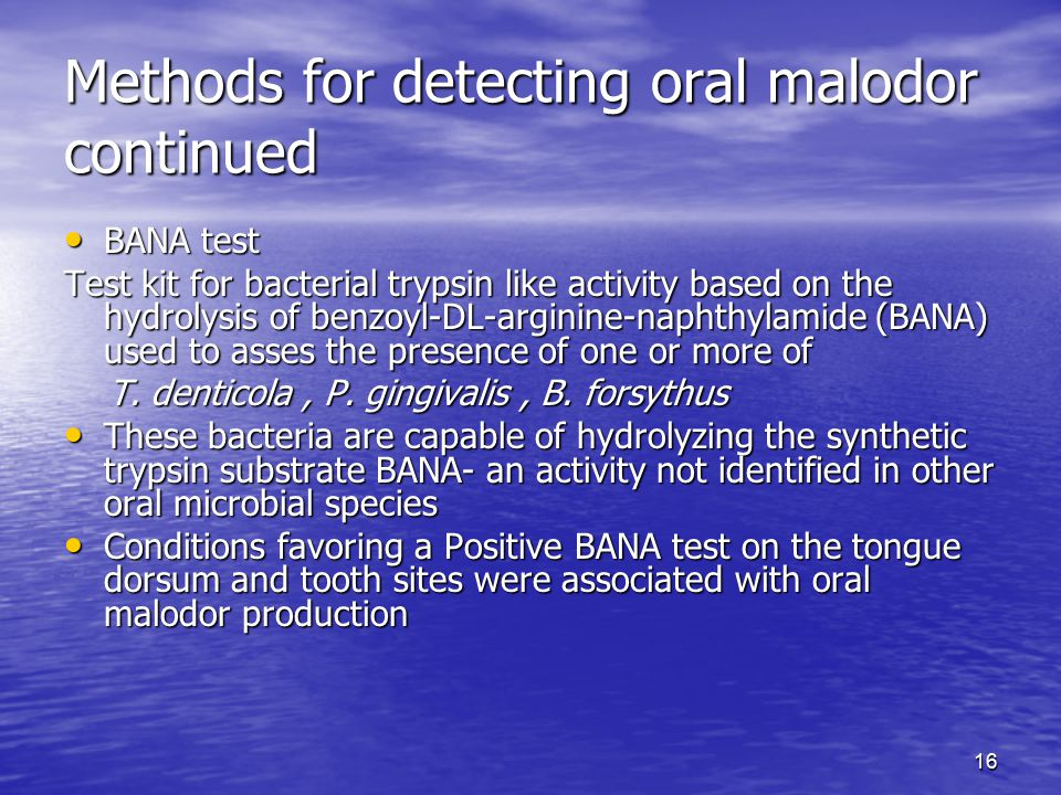 Methods for detecting oral malodor continued