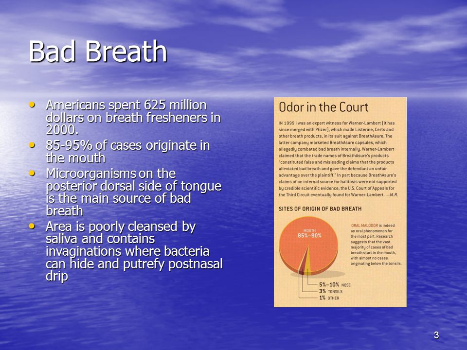 Bad Breath Americans spent 625 million dollars on breath fresheners in 2000. 85-95% of cases originate in the mouth.