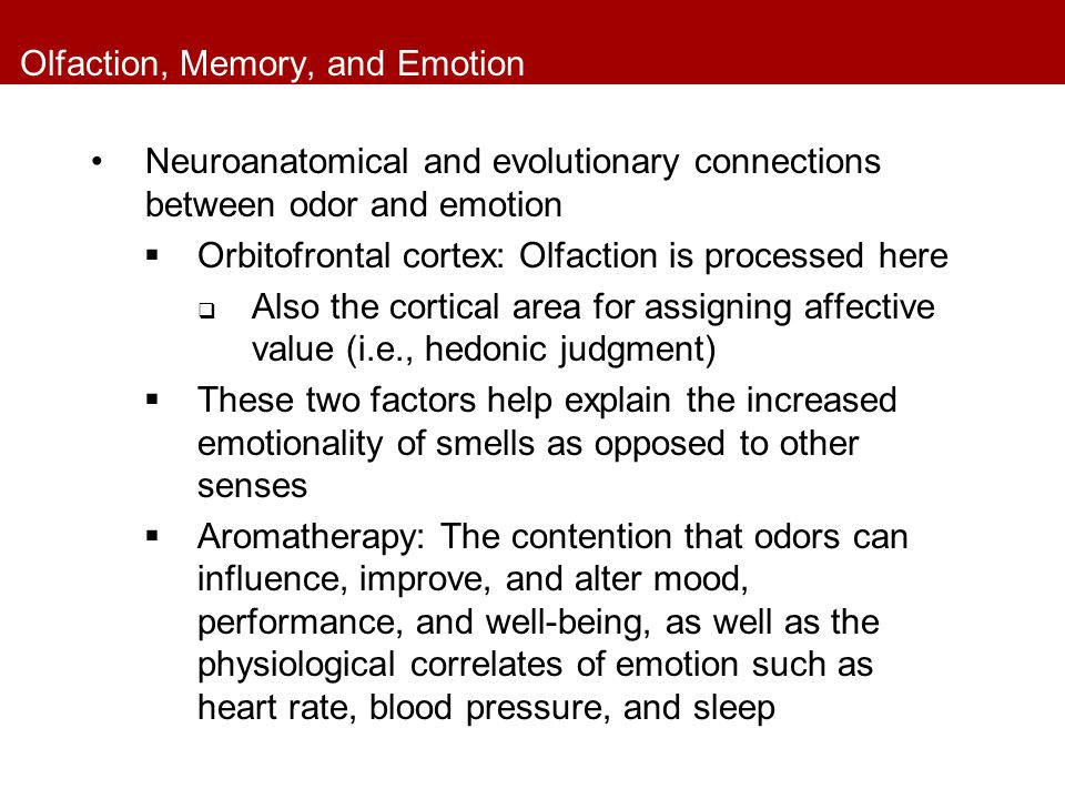 Olfaction, Memory, and Emotion