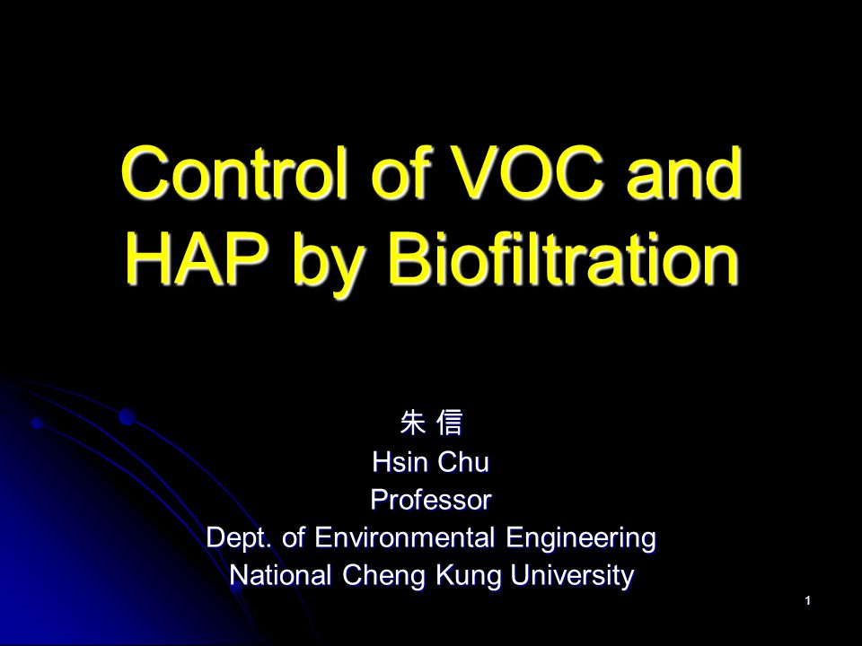 Control of VOC and HAP by Biofiltration