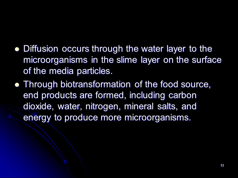 Diffusion occurs through the water layer to the microorganisms in the slime layer on the surface of the media particles.