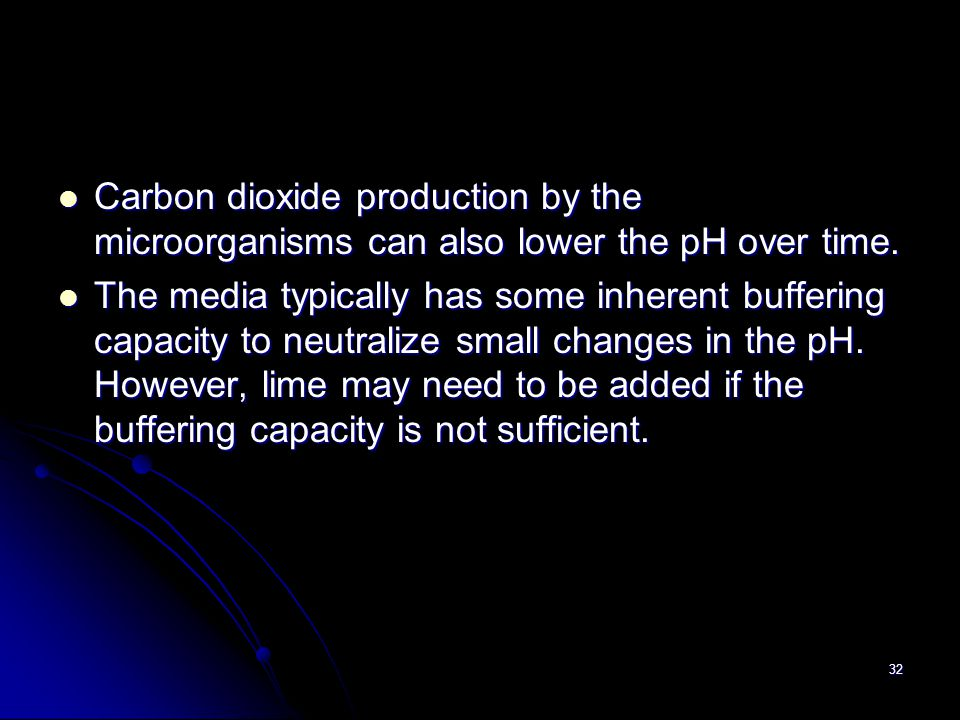 Carbon dioxide production by the microorganisms can also lower the pH over time.