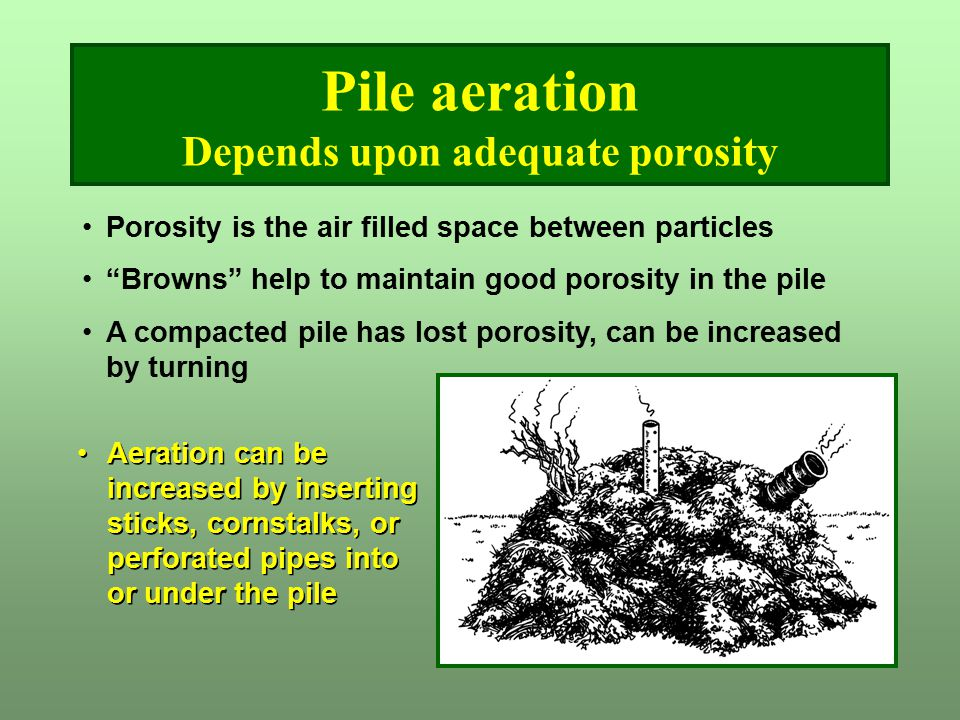 Pile aeration Depends upon adequate porosity