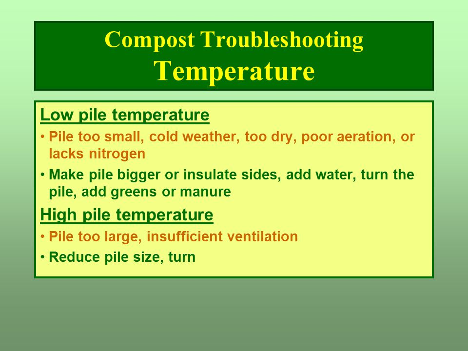 Compost Troubleshooting Temperature