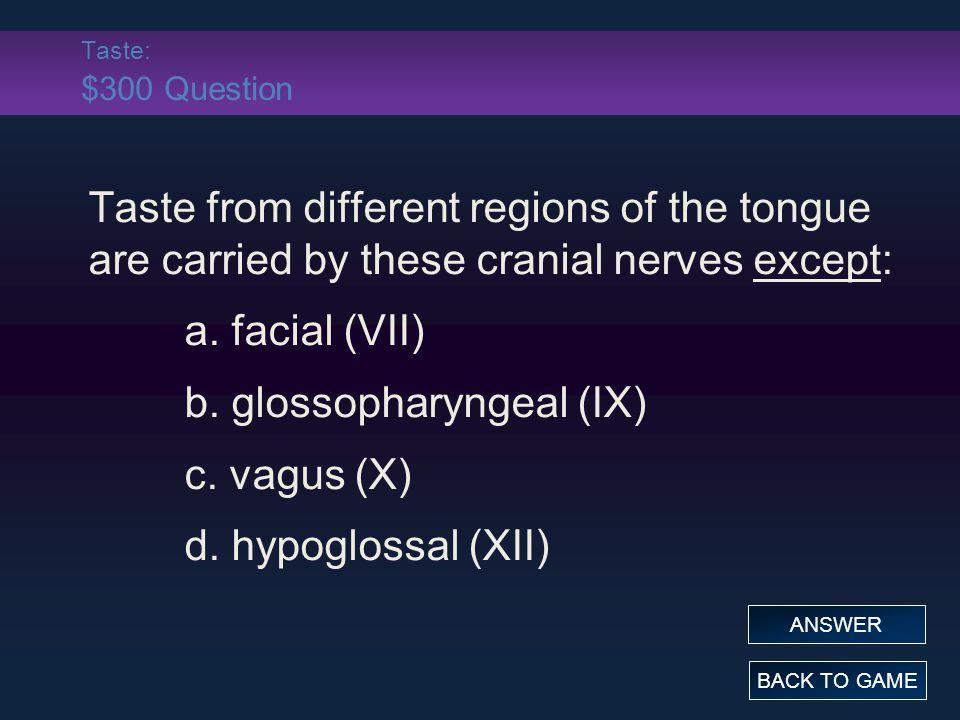 b. glossopharyngeal (IX) c. vagus (X) d. hypoglossal (XII)