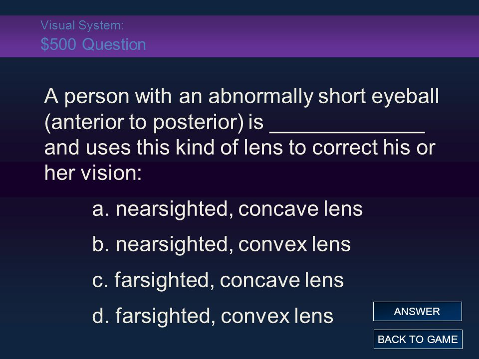 Visual System: $500 Question