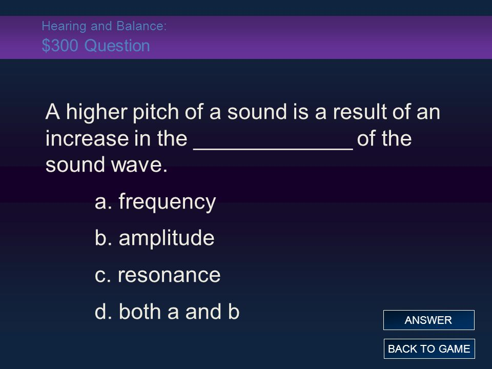 Hearing and Balance: $300 Question