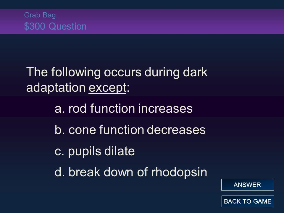 The following occurs during dark adaptation except: