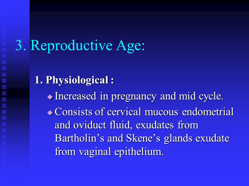3. Reproductive Age: 1. Physiological :