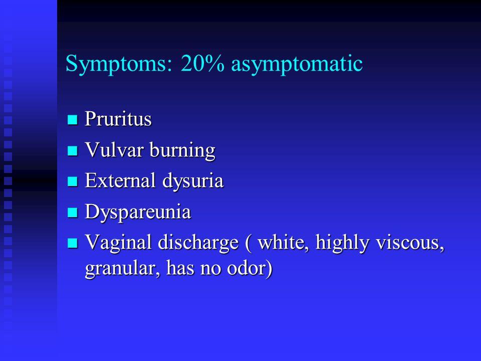 Symptoms: 20% asymptomatic