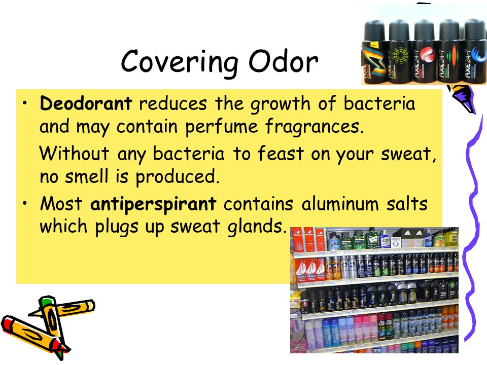 Covering Odor Deodorant reduces the growth of bacteria and may contain perfume fragrances.