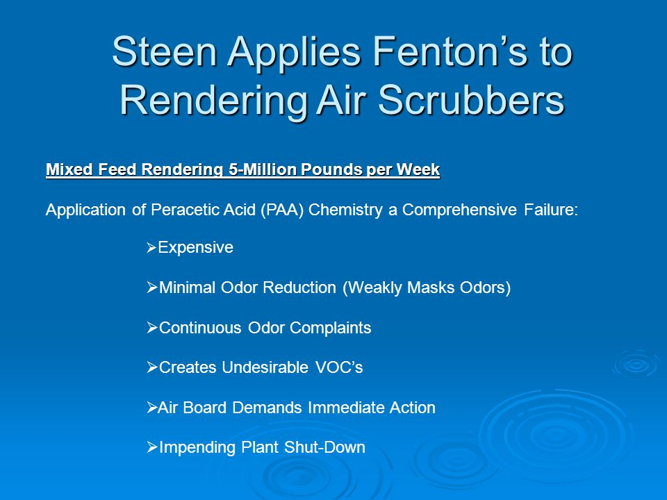 Steen Applies Fenton's to Rendering Air Scrubbers